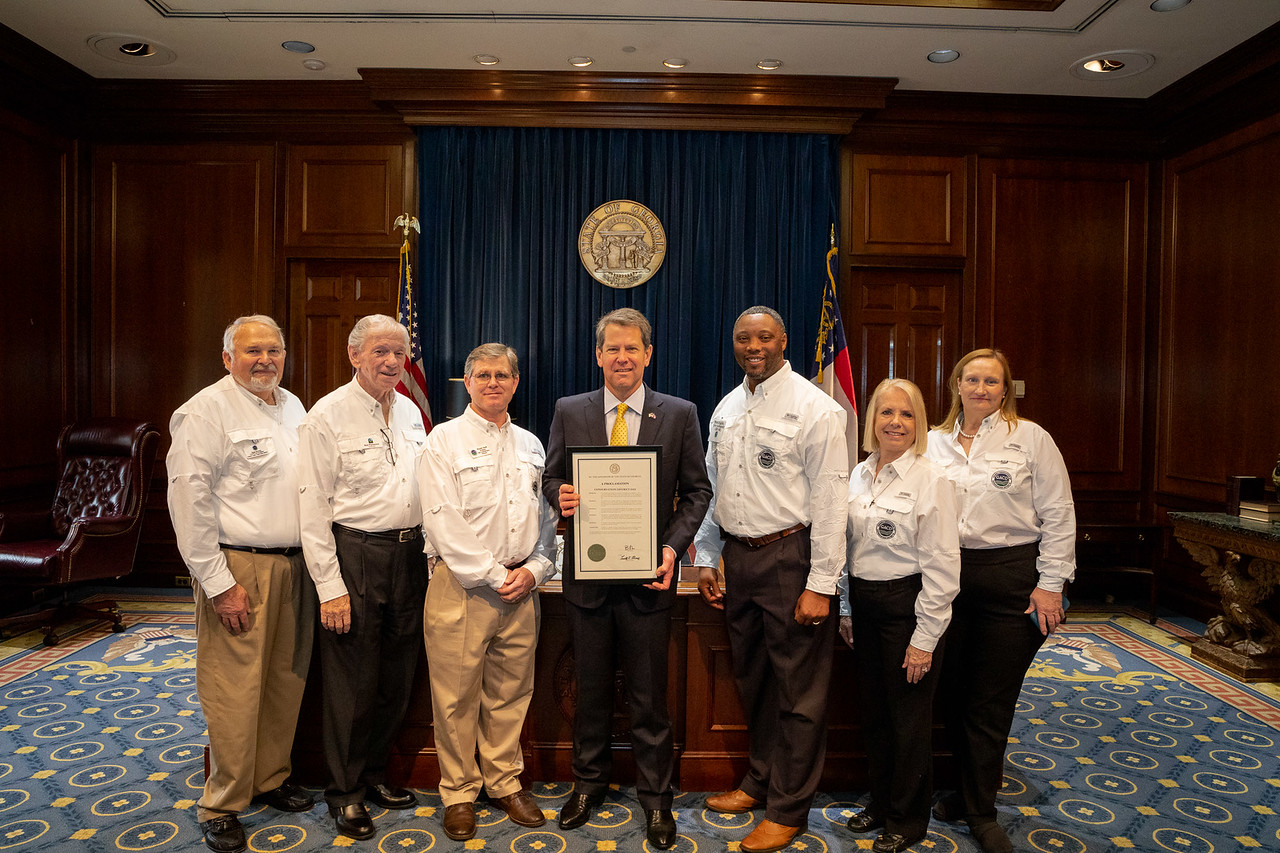 GACD Board Members, District Supervisors and USDA- NRCS State Conservationist with Governor Brian Kemp holding our proclamation for Conservation District Day in Georgia.