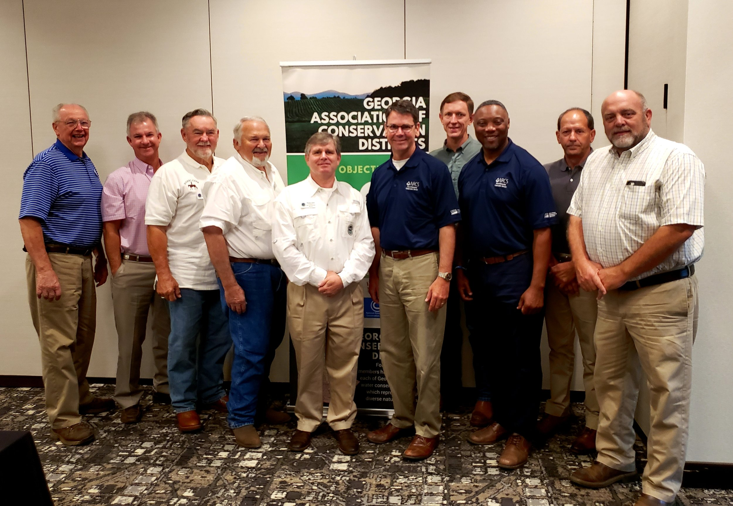 GACD Board Members with USDA NRCS Chief Matthew Lohr, State Conservationist Terrance Rudolph, and Southeast Regional Coordinator for Farm Production and Conservation (FPAC) Bill Bailey.
