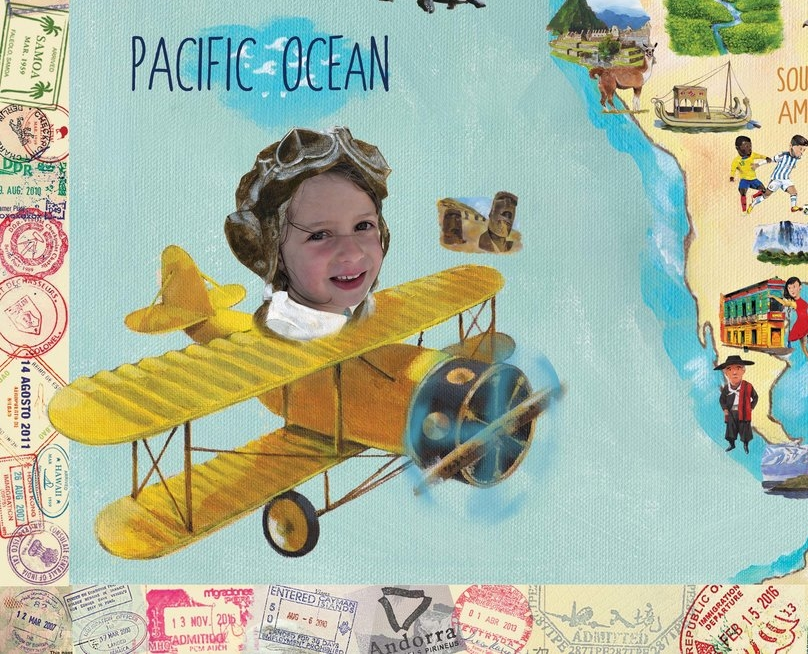 Make it your own - Turn your child(ren) and their cousins, friends, pets or even plush toys into globetrotters by customizing your map with their faces and names. Dream, learn and start great conversations about all the places they'll visit one day!
