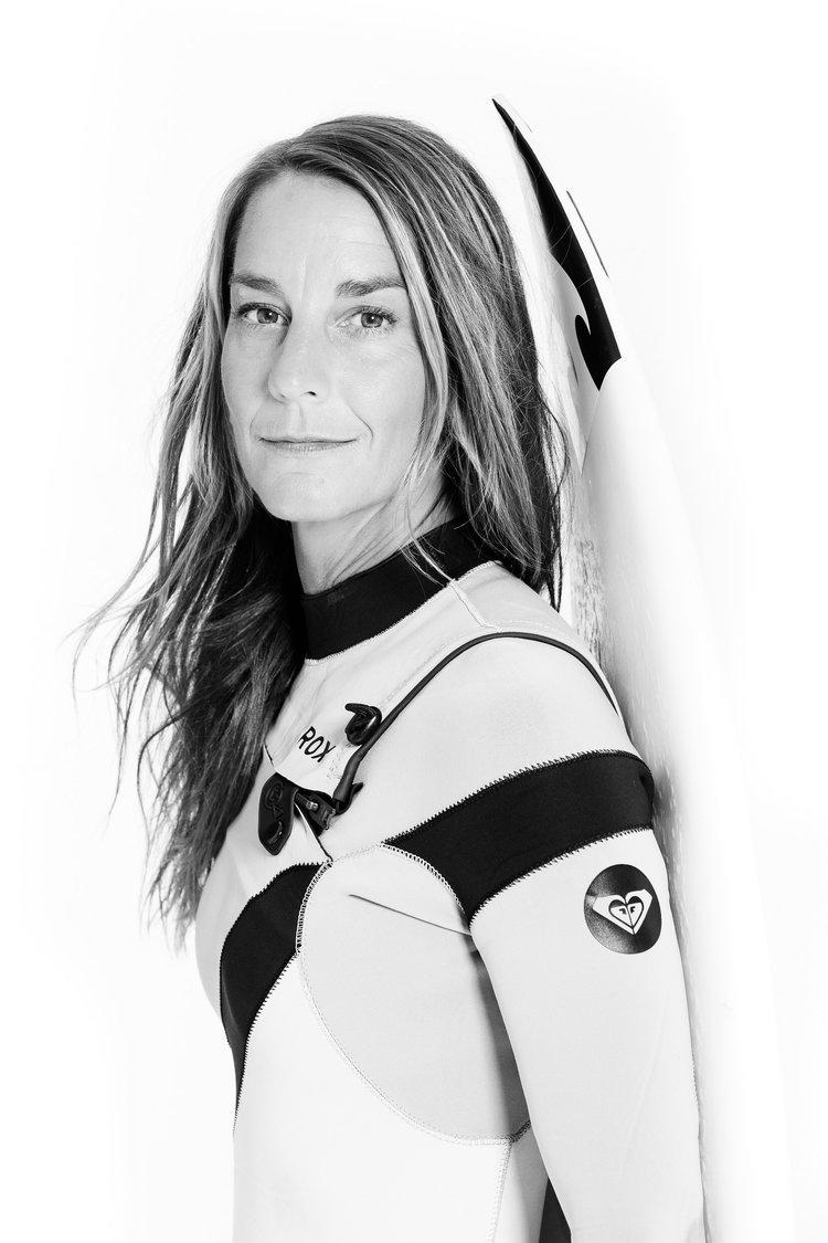 A studio portrait of Tofino surfer Catherine Bruhwiler.