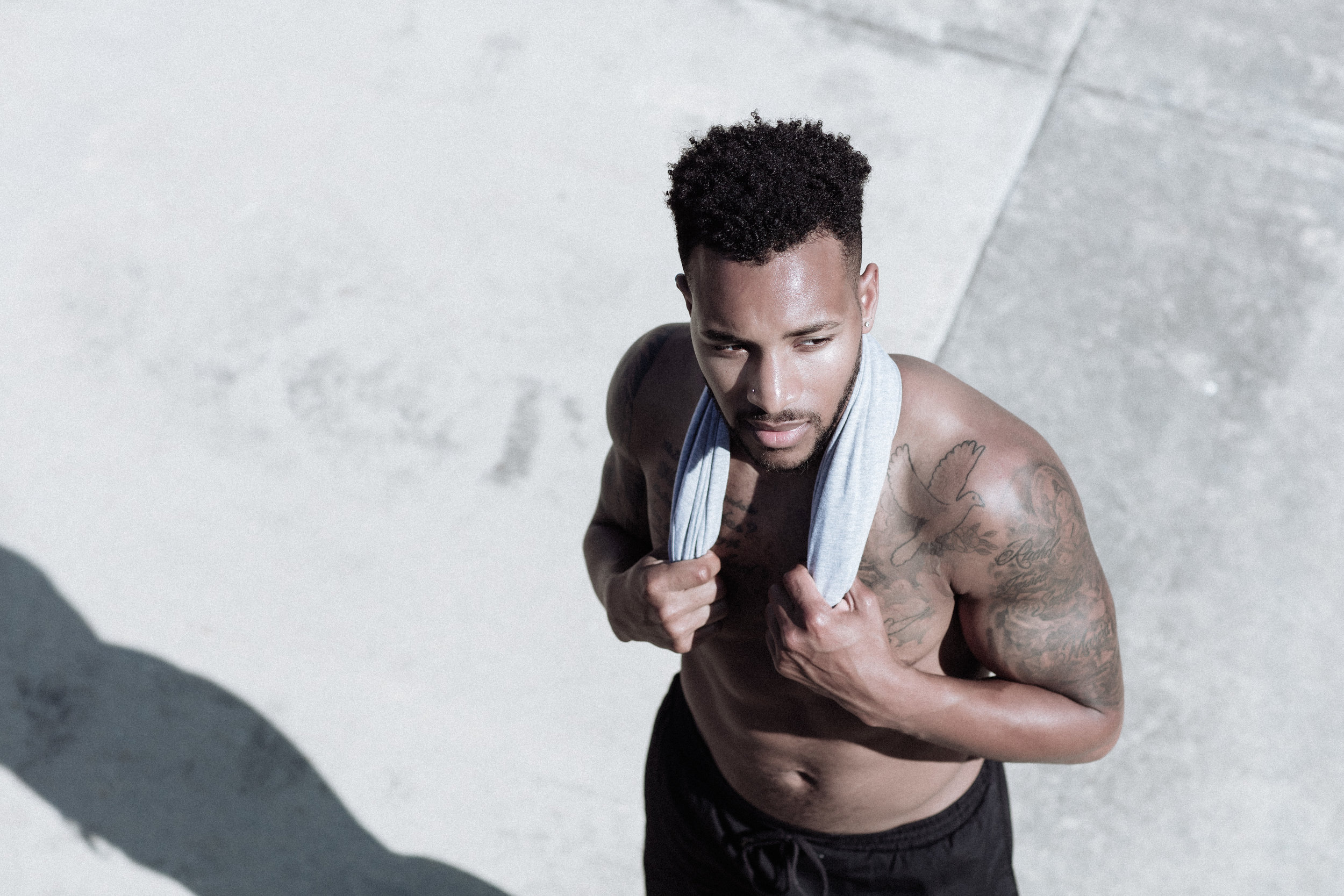 Sport fitness model on a photoshoot with commercial photographer Anick Violette.