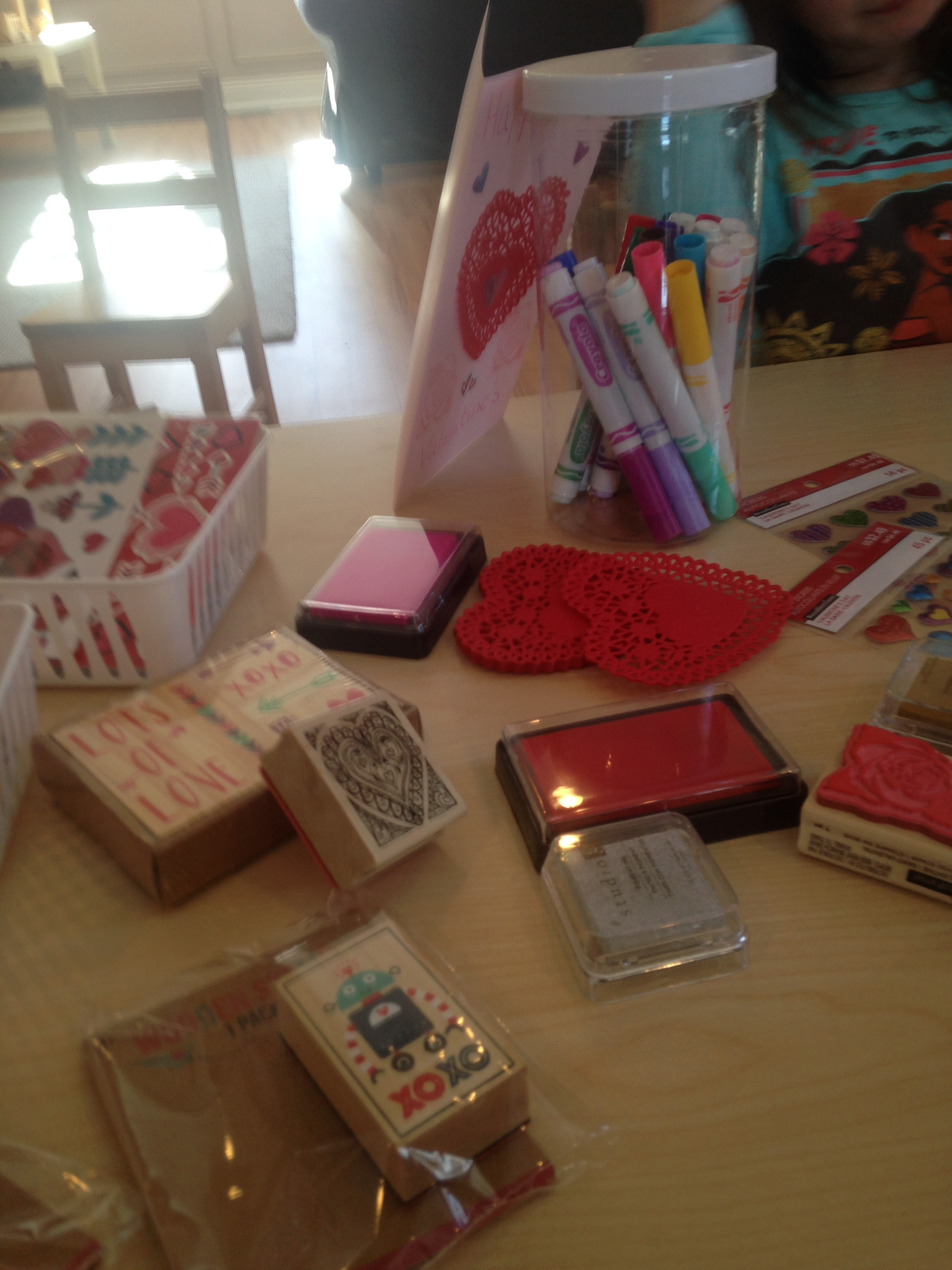 Lots of fancy supplies were available as the children created their cards!
