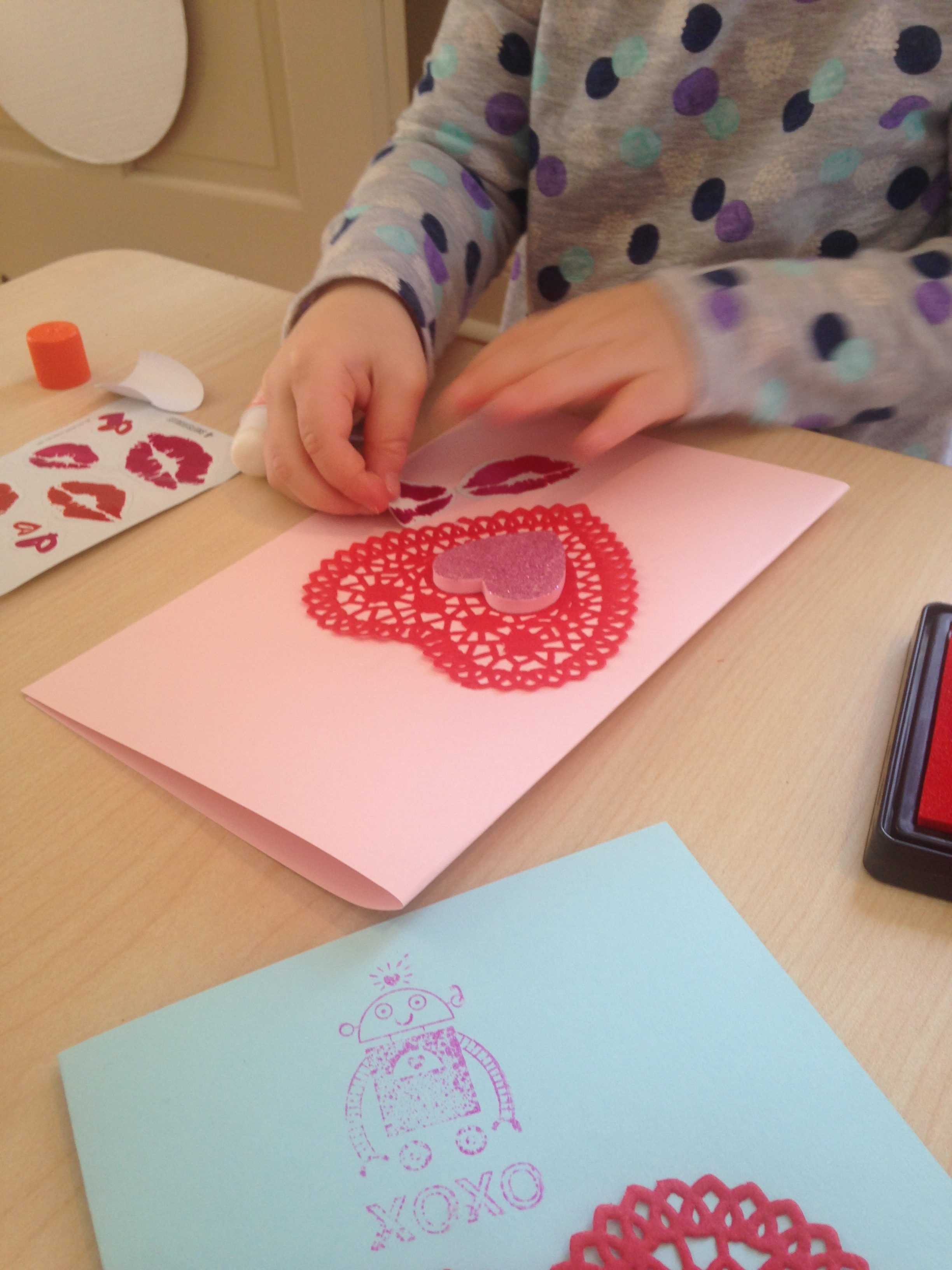 Creating Valentine's Day cards!
