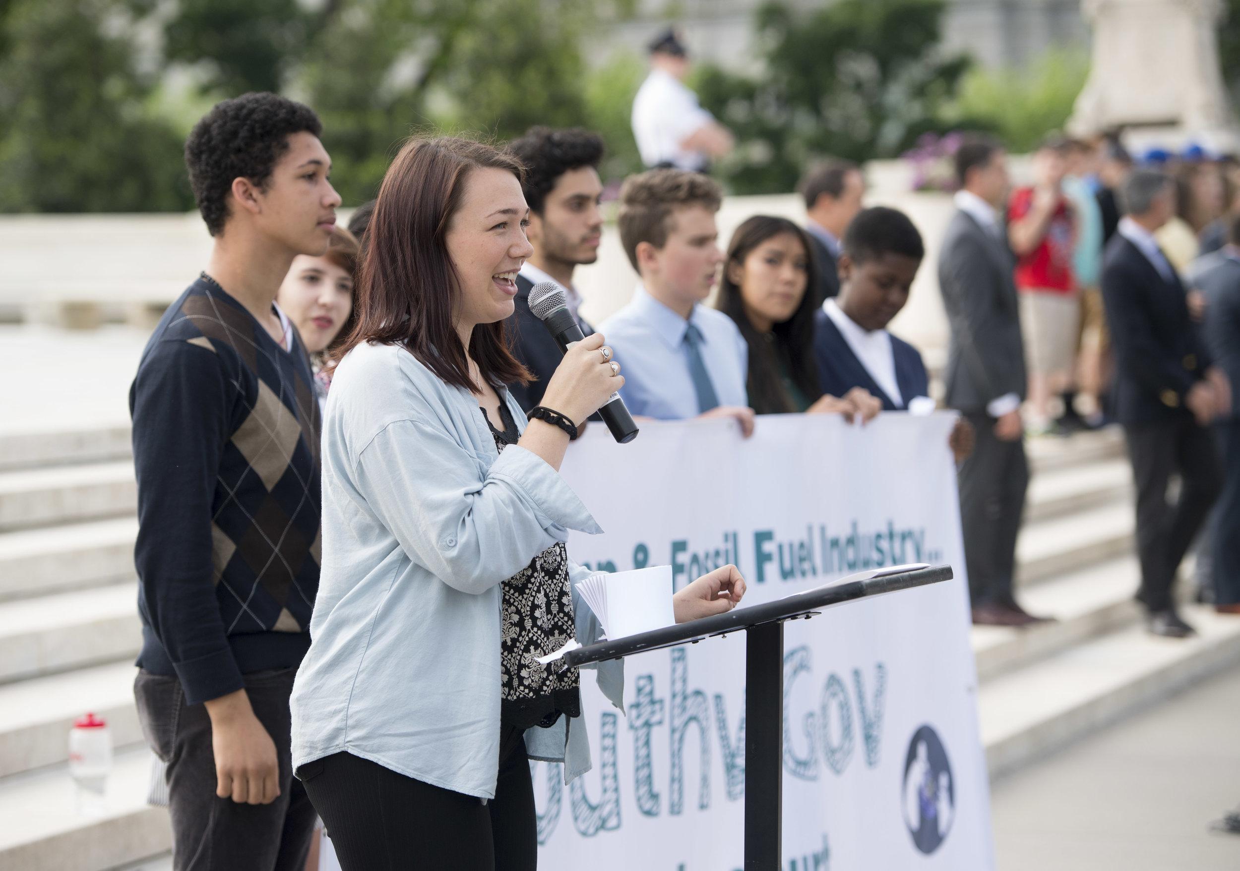 Kelsey speaks outside the US Supreme Court, April 27, 2017. Photo: Robin Loznak