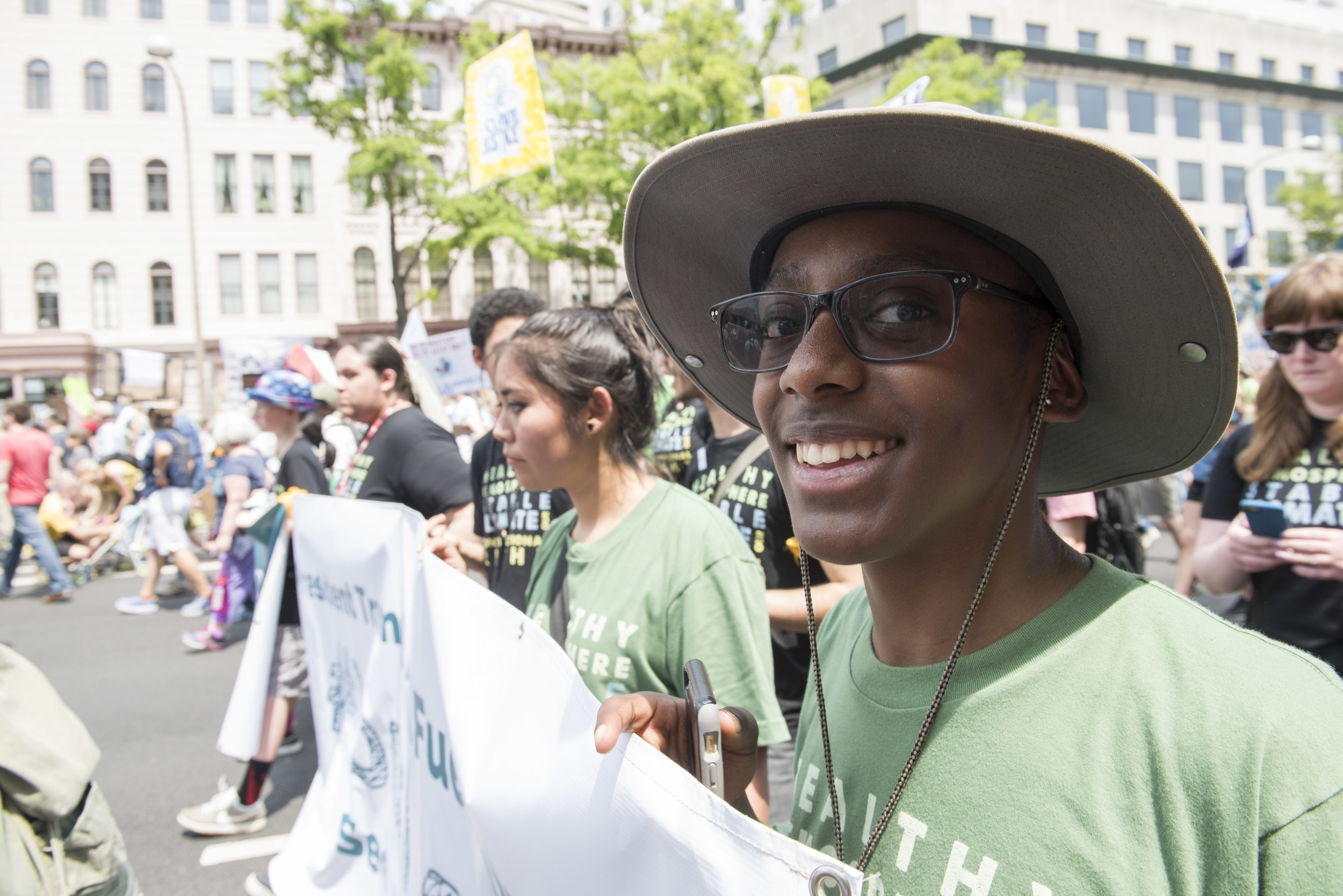 Isaac at the April 29, 2017 People's Climate March. Photo: Robin Loznak