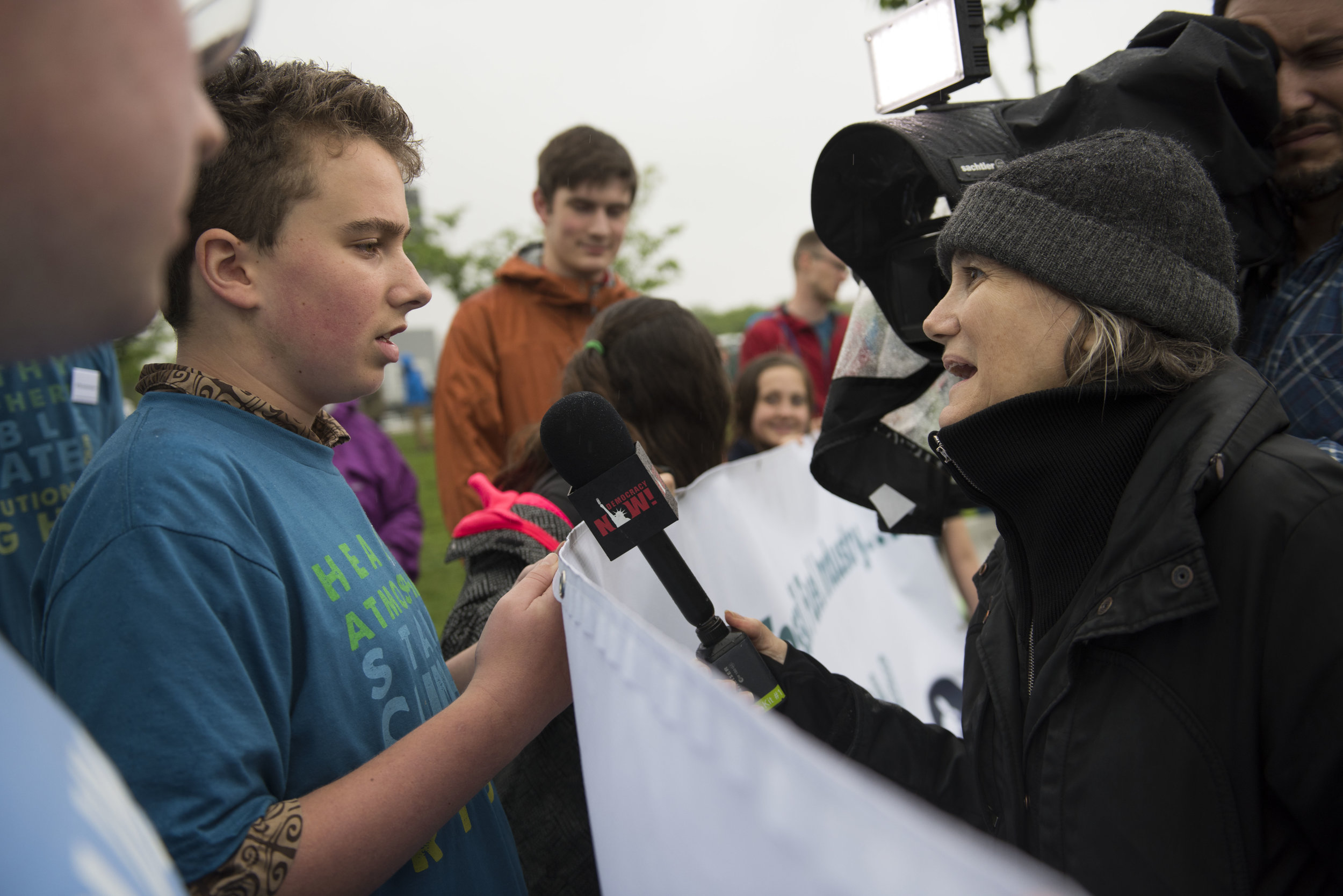 Nick being interviewed by Amy Goodman of Democracy Now! at the March For Science in Washington DC, April 22, 2017. Photo: Robin Loznak