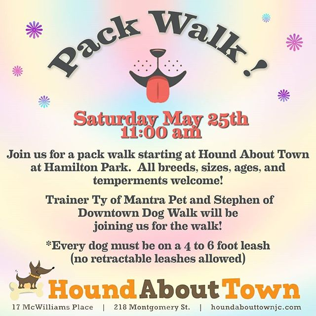Kwe' y'all! Finally, some good weather ahead! It's supposed to be hot, so please bring water for your pup as well as a soaked bandana for them to wear 😸 (& bring your highest value treats, a kong stuffed with MORE treats if you want to work settling, and we'll see you there!) #jerseycitypets #jerseycitydogs #packwalk #packwalknation