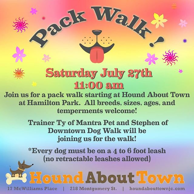 Looks like we might be avoiding the heat wave and rain! Looking forward to seeing you all there, please remember to bring treats and cold bandanas or cooling collars for your pups (and yourselves)! #packwalk #dogsofjerseycity