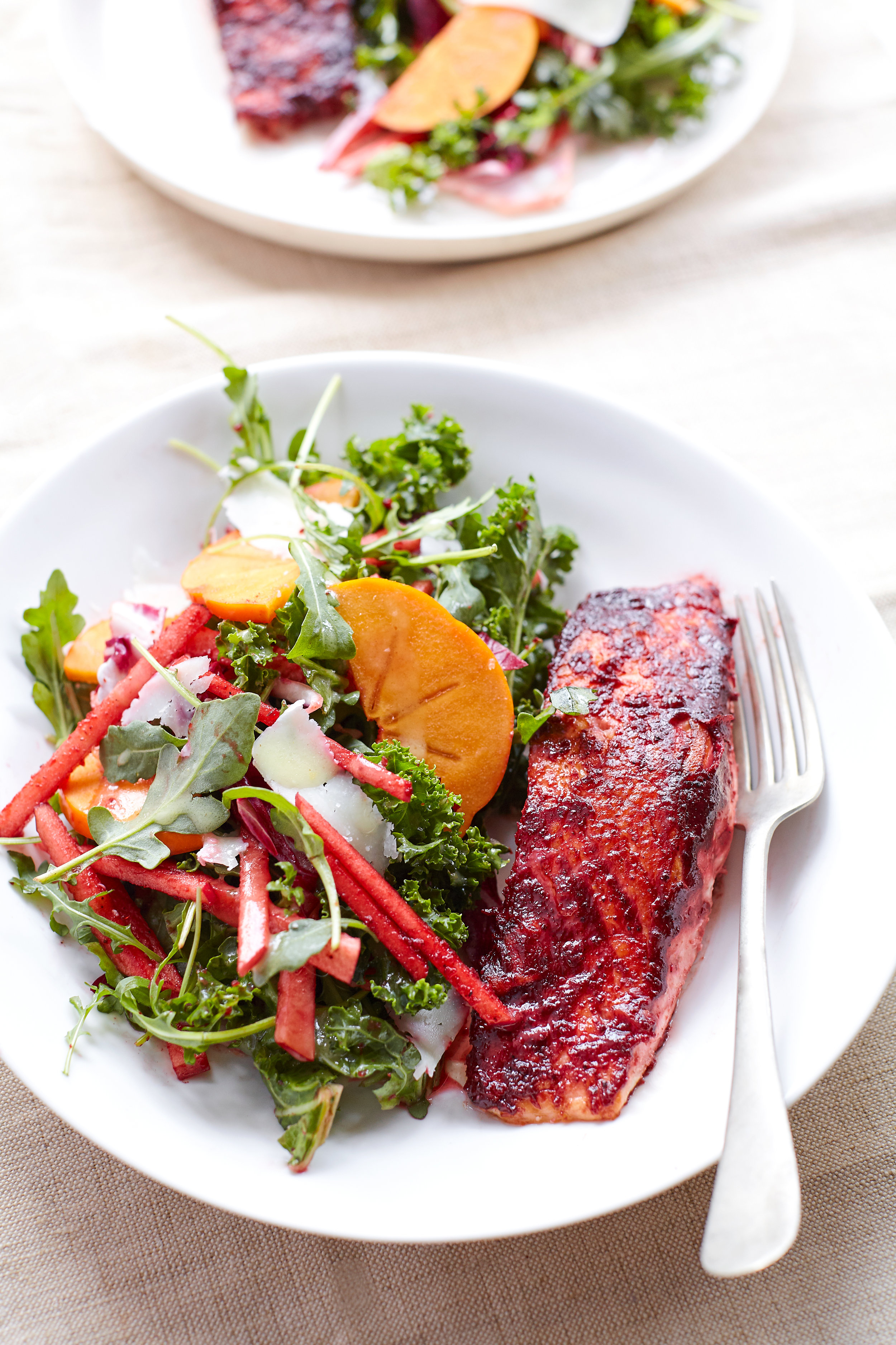 BEET HONEY MUSTARD SALMON WITH BEET STAINED-APPLE MATCHSTICK SALAD