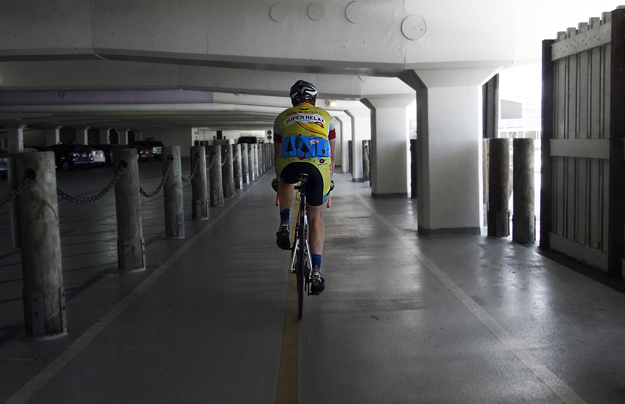 Tolsun, navigating a parking structure in Redondo Beach.