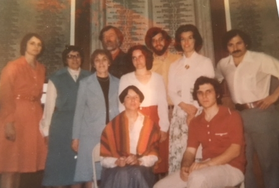 Poets' Lab members at Memorial Hall Library in Andover, Mass. (1977 or 1978). From left, standing, Kathy Aponick, Alice Davis, Florence Lieberfarb, Stephen G. Perrin, Annie Fleming, Charlie Brunault, Mary Lou Tremblay, Wayne Nalbandian; seated from left, Cindy Ward and Paul Marion. Missing from this photo are Ken Skulski, Rudy (last name?), Eric Linder, Helen Allen, Esther Weisslitz, Tom Mofford (who may have been the photographer on this day), and others.