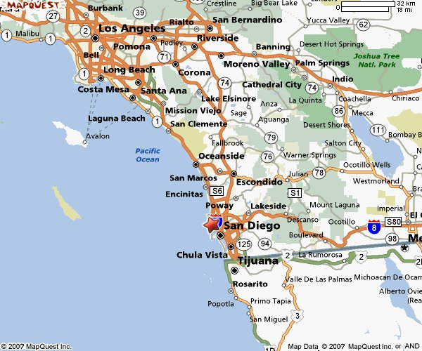 Riverside and San Bernardino are in the upper center on this map. Laguna Beach is about midway between Los Angeles and San Diego.