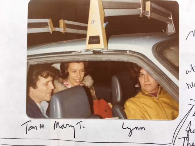 From left, Tom Mofford, Mary Tremblay, and Lynn (last name?) in Lowell, Mass., for a poetry reading at Gallery 21 on Hurd Street, Winter 1977.
