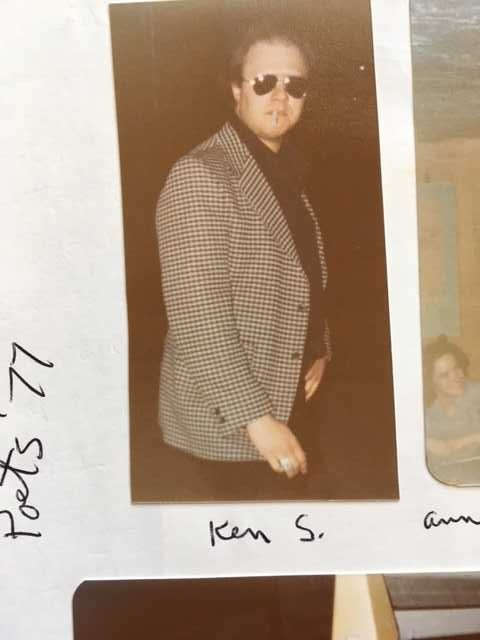 Ken Skulsk of Andover, Mass., instigator of the Poets' Lab of the Merrimack Valley, 1977. To Ken's right, blurry in the photo, is Anne Fleming of Chelmsford, Mass.