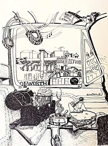 Downtown Lunch Break  by Richard Marion (ink drawing on paper, 1981)