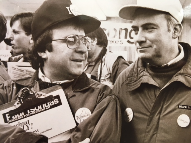 With Bill Lipchitz, right, at the Manchester, N.H. headquarters of the Paul Tsongas for President Campaign in 1992.