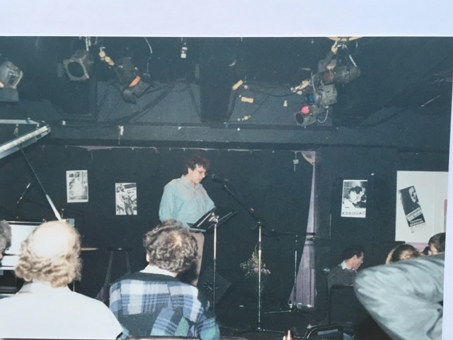 Nightclub reading with Lawrence Ferlinghetti and many others at the International Jack Kerouac Conference in Quebec City, Canada, 1987.