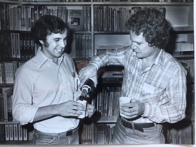 Co-editors of the  New England Poetry Engagement Book 1980 , PM and Eric Linder, owner of the Chelmsford Bookstore in Chelmsford, Mass., at the book launching, 1979.