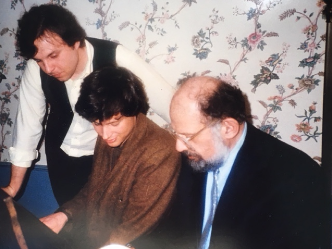 Finding a song at the piano with writer George Chigas, center, and poet Allen Ginsberg after the sold-out benefit reading at Merrimack Repertory Theater for the new Kerouac organization in Lowell founded by Brian Foye and others, 1986.