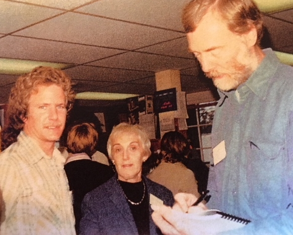 """From left, Eric Linder, Florence Lieberfarb, and Steve Perrin at the Chelmsford Bookstore in Chelmsford, Mass., for the launch of the """"New England Poetry Engagement Book 1980,"""" co-edited and published by Eric Linder, owner of the bookstore (1979)."""