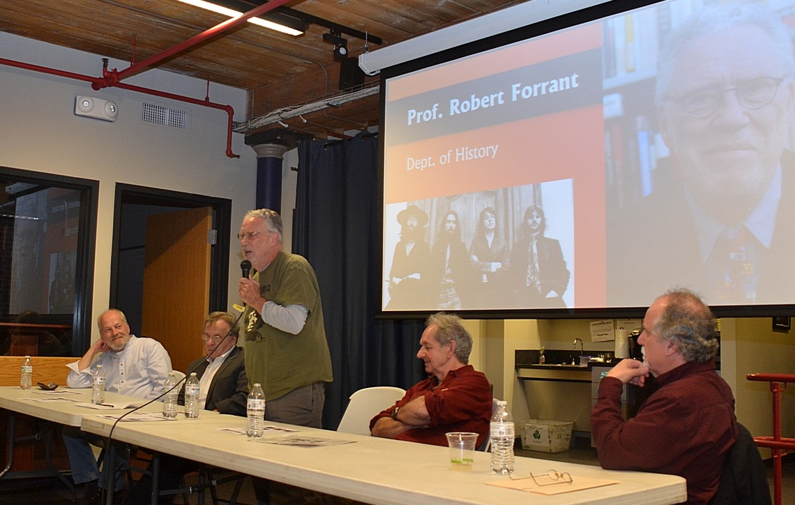 History professor Bob Forrant with the mic. Look closely to see his Jimi Hendrix T-shirt. From left, Greg DeLaurier, me, Bob F., John Wooding, and Will Moylan.