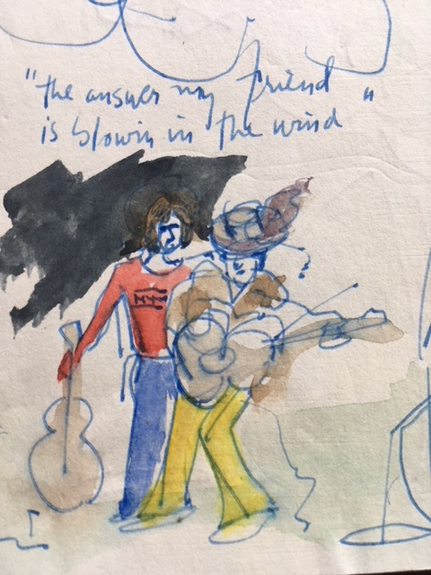 My ink-and-watercolor notebook sketch of the concert scene made a day later.