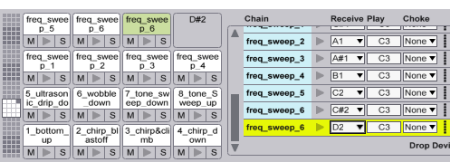 To see the MIDI note chooser, click the little IO button next to Macro5 on the drum rack.
