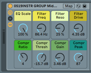INSTRUMENT GROUP FX - FX rack. Don't treat your instruments the same as your drums [.adg 7kb]