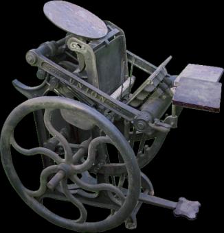 An iron platen press.