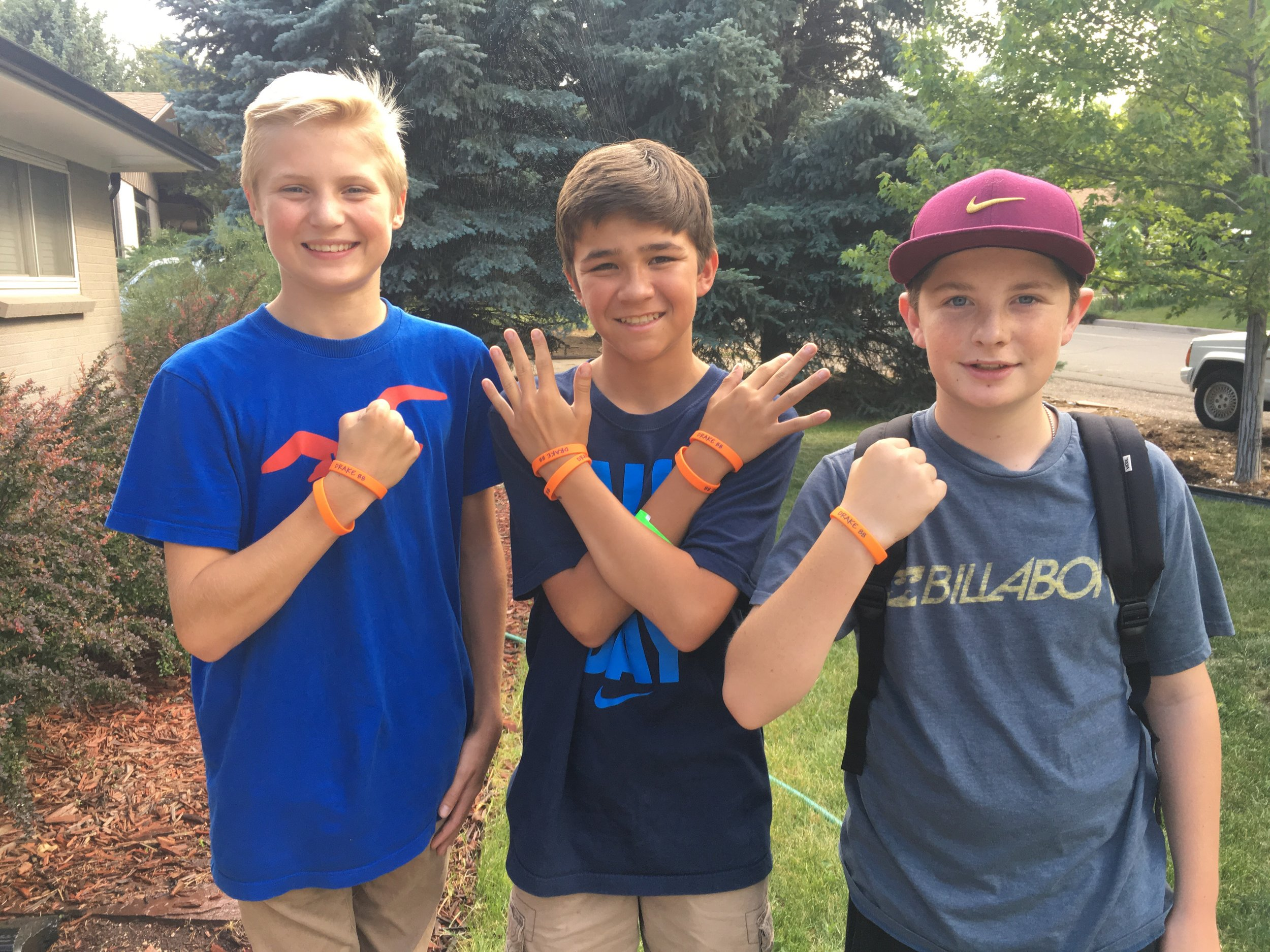 Drake's classmates participating in Intentional Day of Kindness