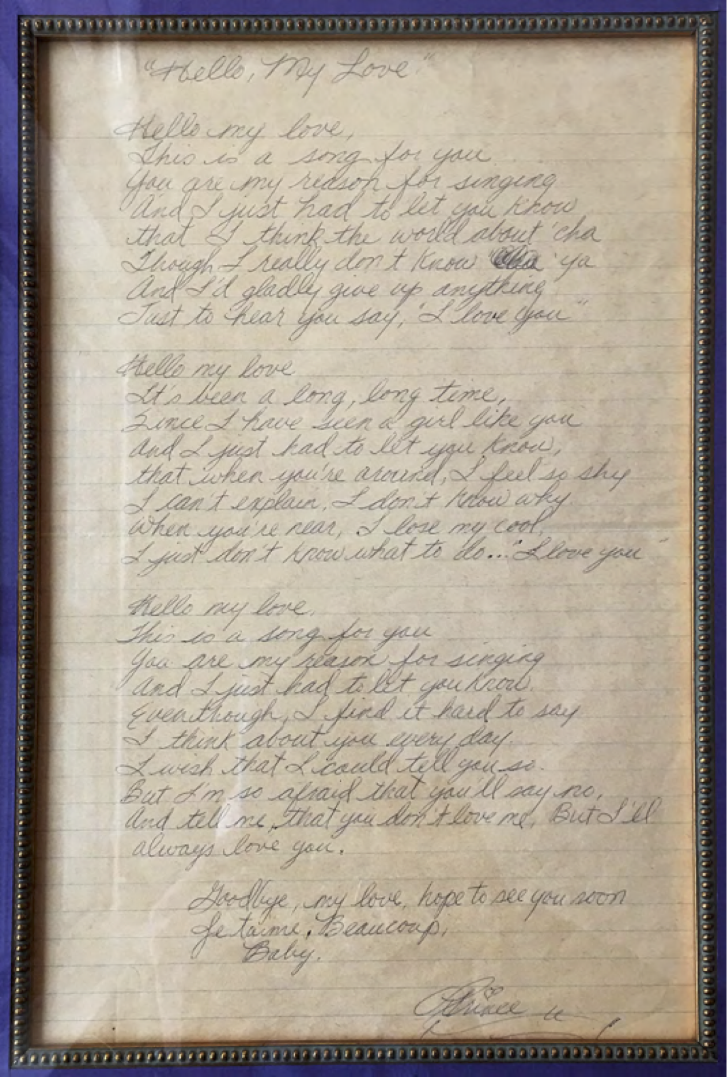 Hello, My Love lyrics written by Prince. Provided by Nancy Altman.