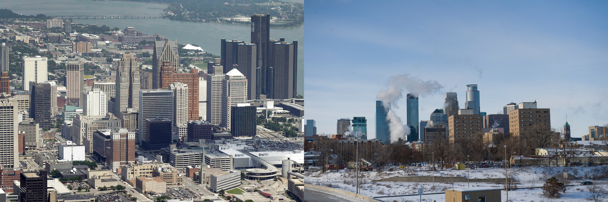 The skylines of Detroit and Minneapolis