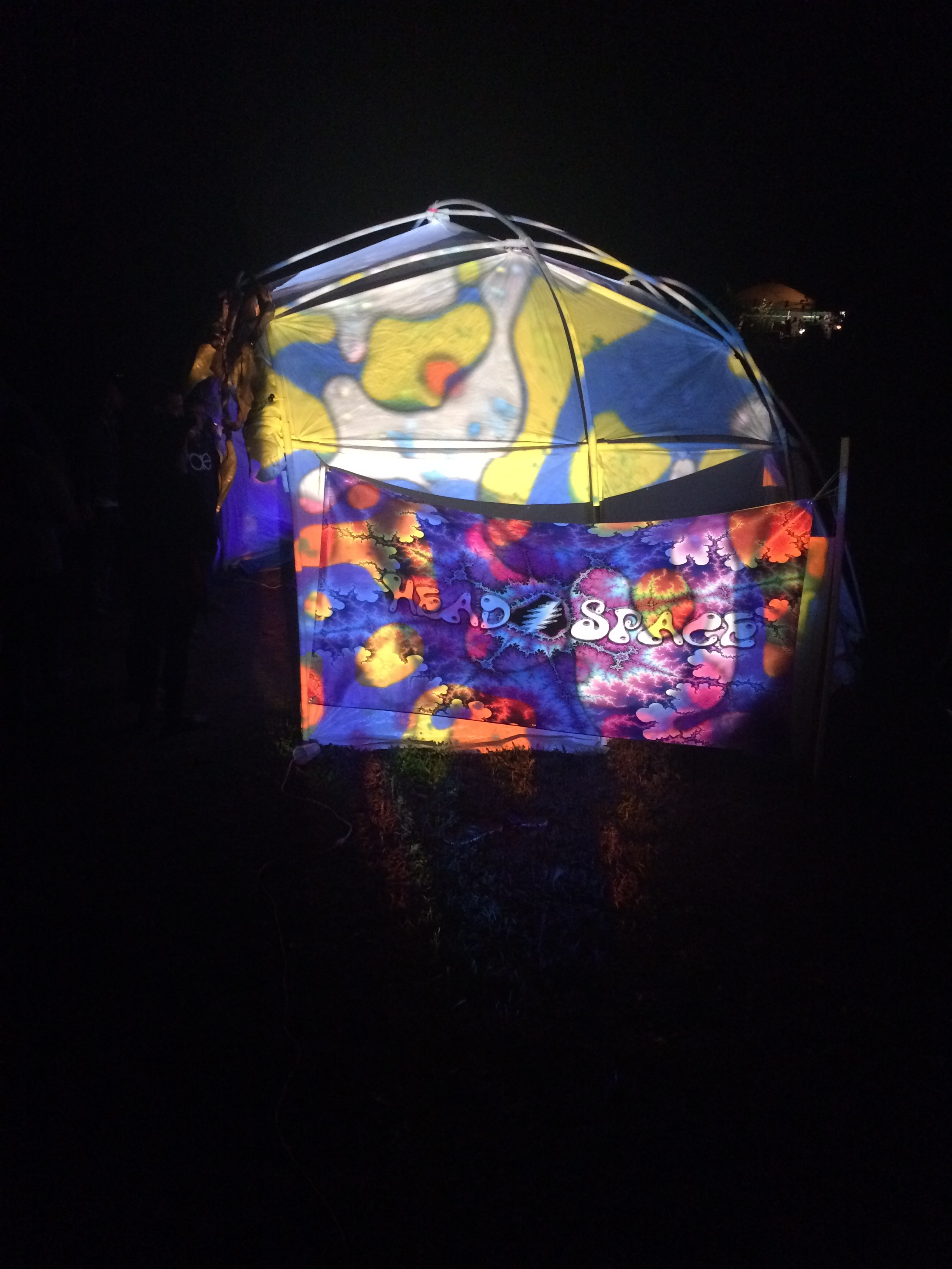 The Headspace Collective dome at night.