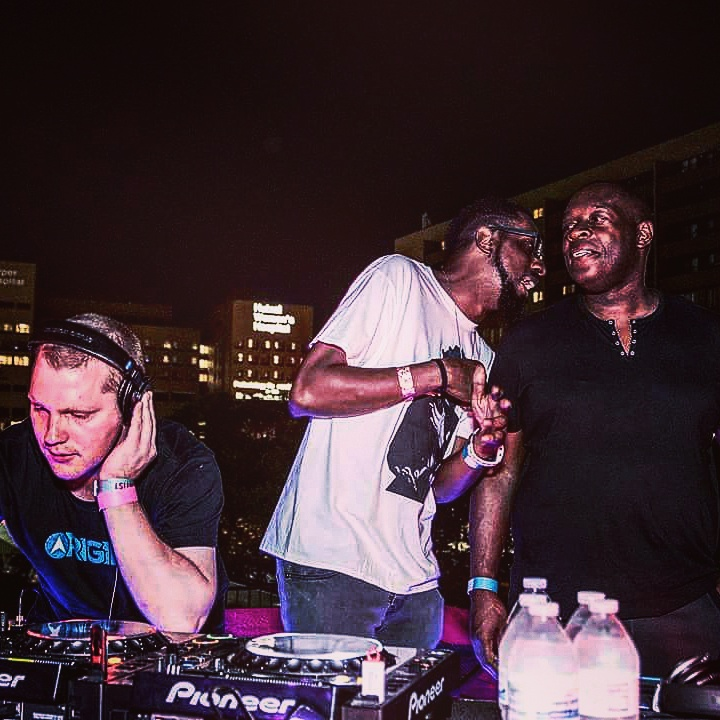 Gene Farris and Kevin Saunderson watch Bjelopetrovich playing as InSOUL at the KMS Records after party at Populux in 2016. Photo courtesy Nick Bjelopetrovich.
