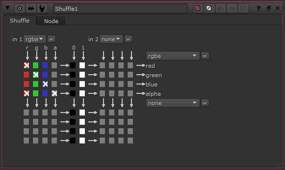The input red channel outputs to red AND alpha channel since they're both checked.