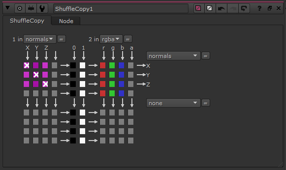 Shuffling the normal from input 1 to the normal pass of the output. RGBA channels remain unchanged.