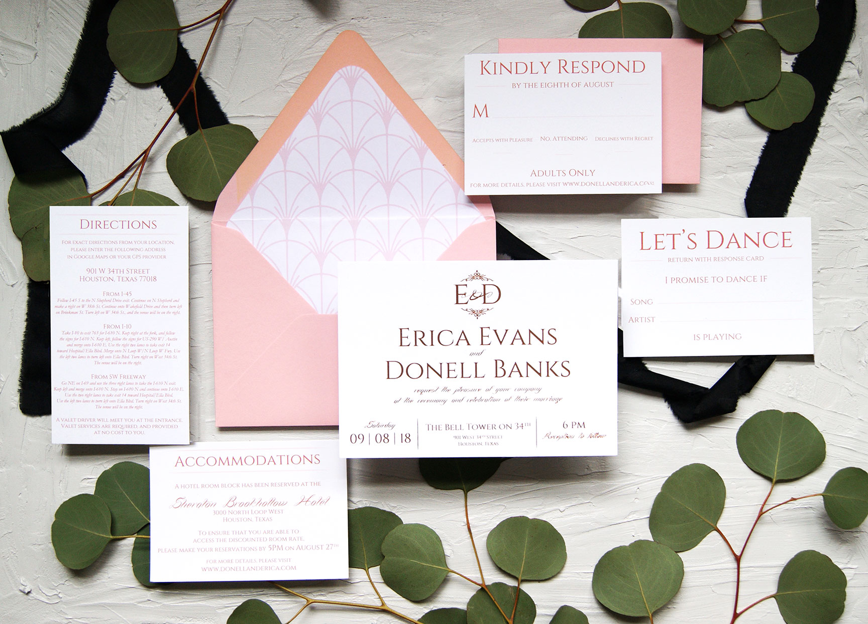 Blush and Rose Gold Foil Wedding Invitation Suite.