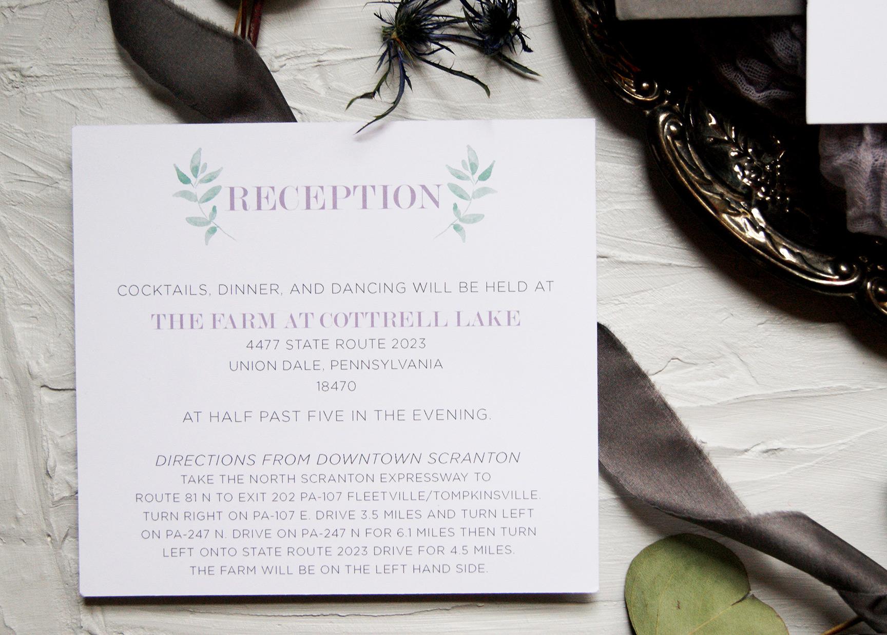 Wedding Reception Card | Wedding Invitation | Custom Wedding Invitation Suite | Wedding Stationery