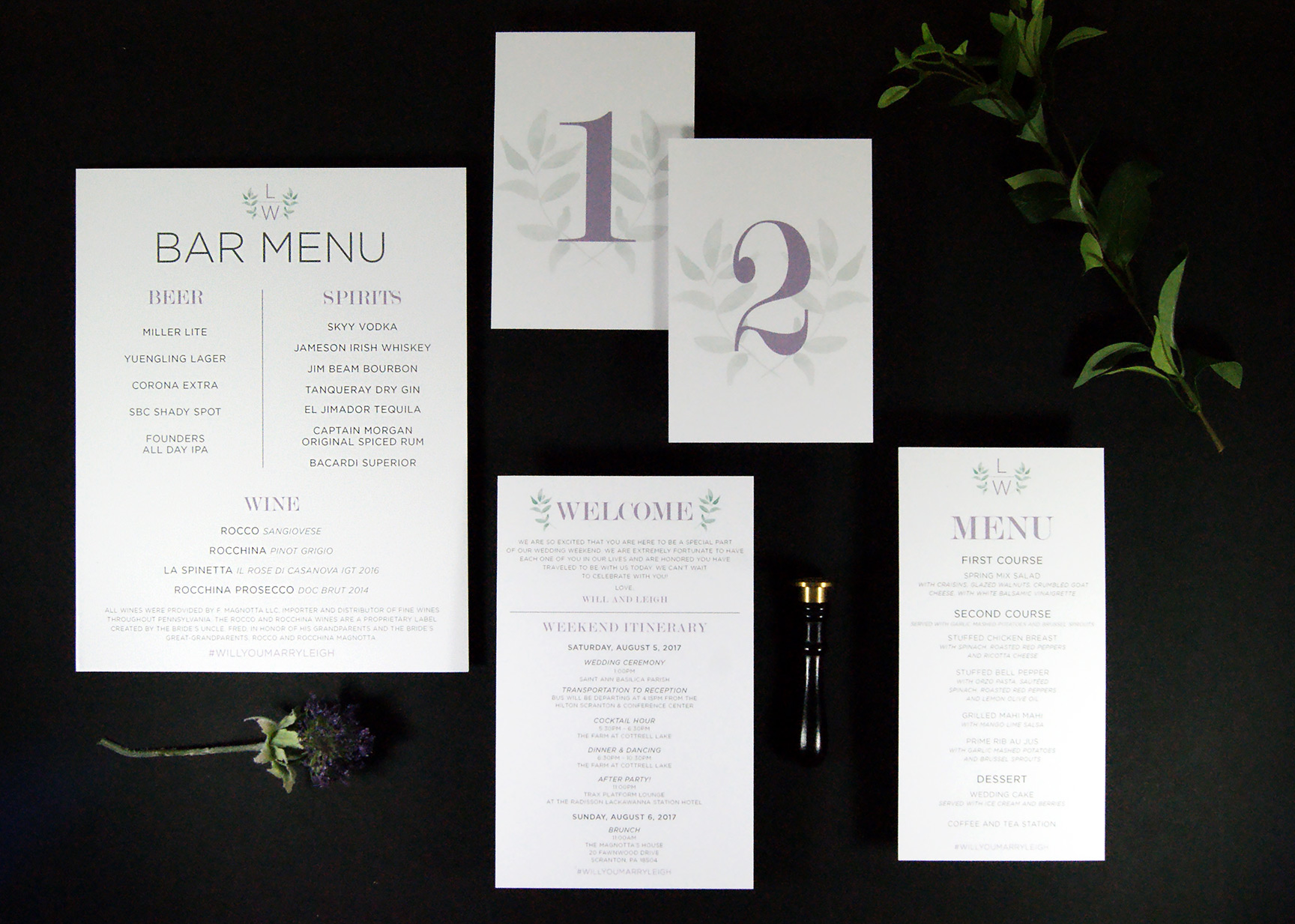 Wedding Day Stationery | Bar Menu | Table Numbers | Welcome Card | Menu