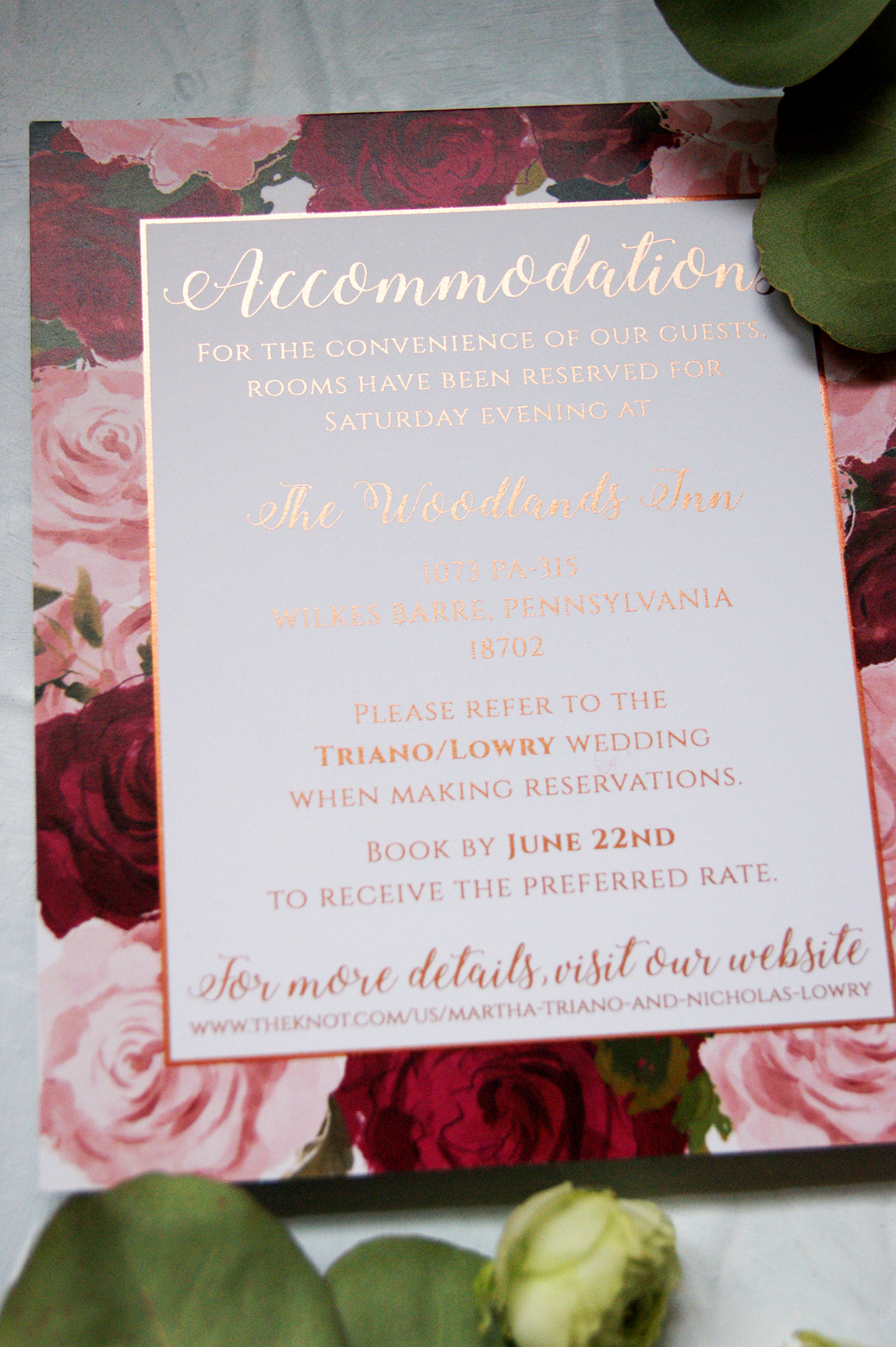 Rose Gold Wedding Invitation Detail