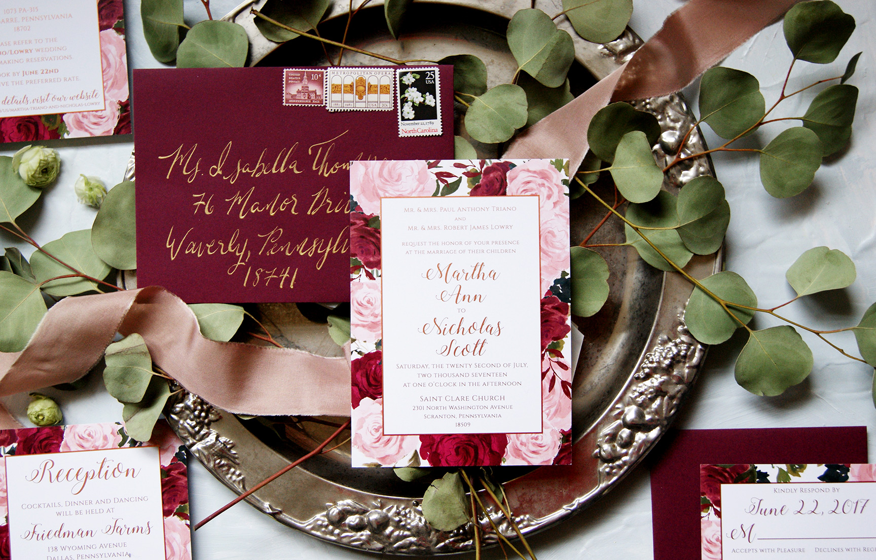Blush and Rose Gold Wedding Invitation with Calligraphy