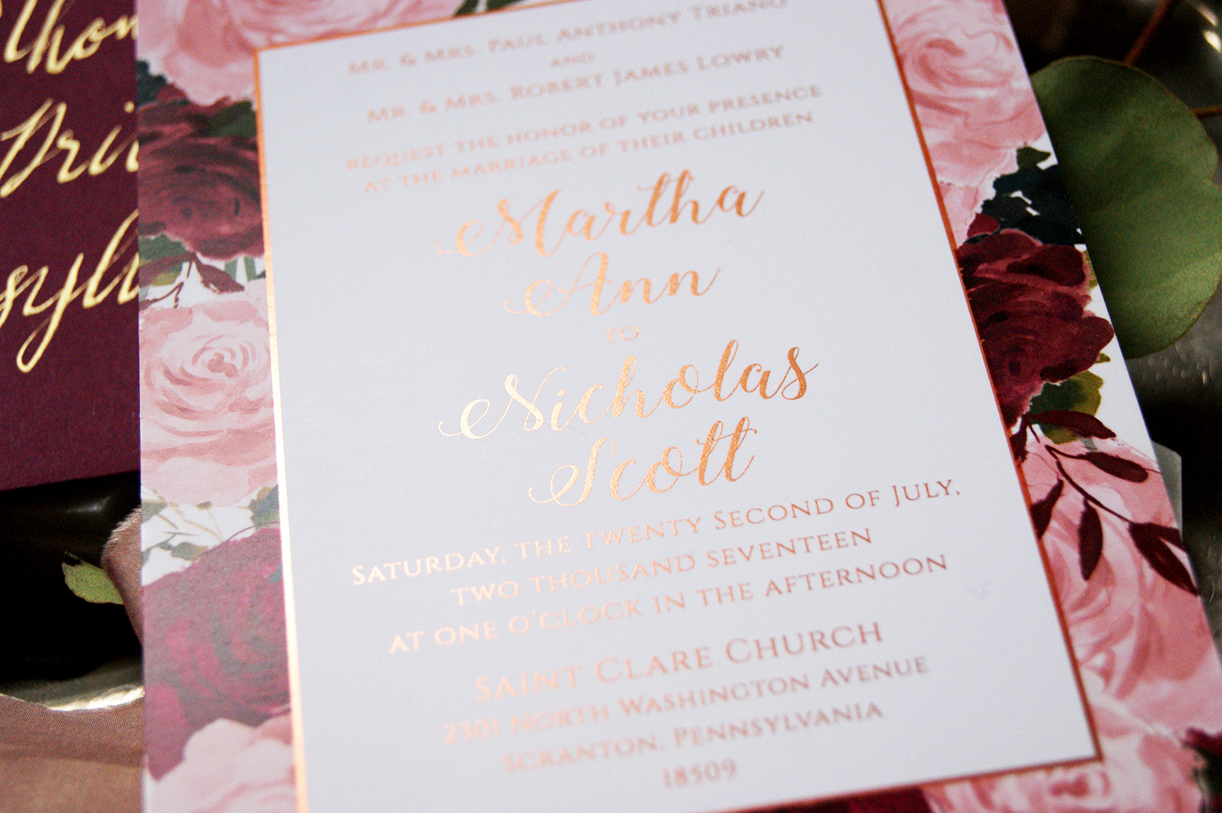 Rose Gold Wedding Invitation Foil Details