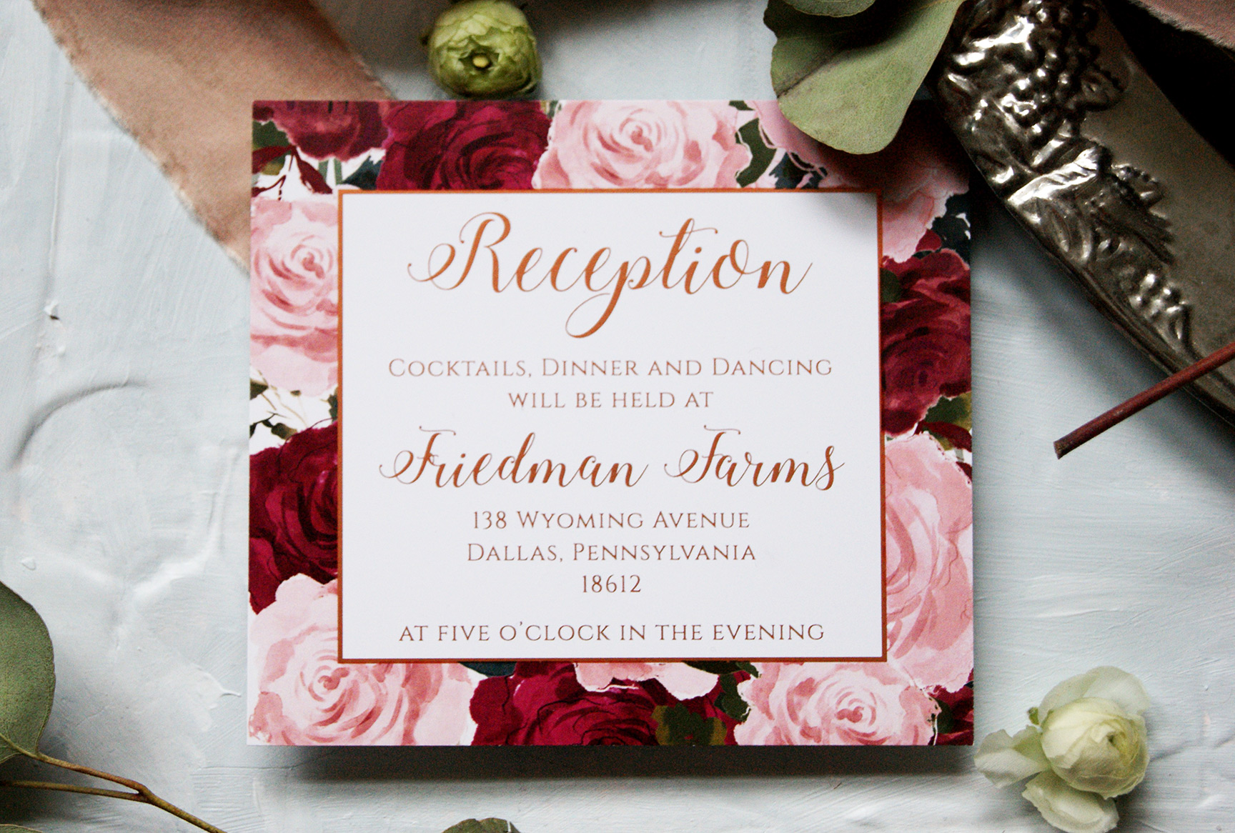 Rose Gold Wedding Reception Card