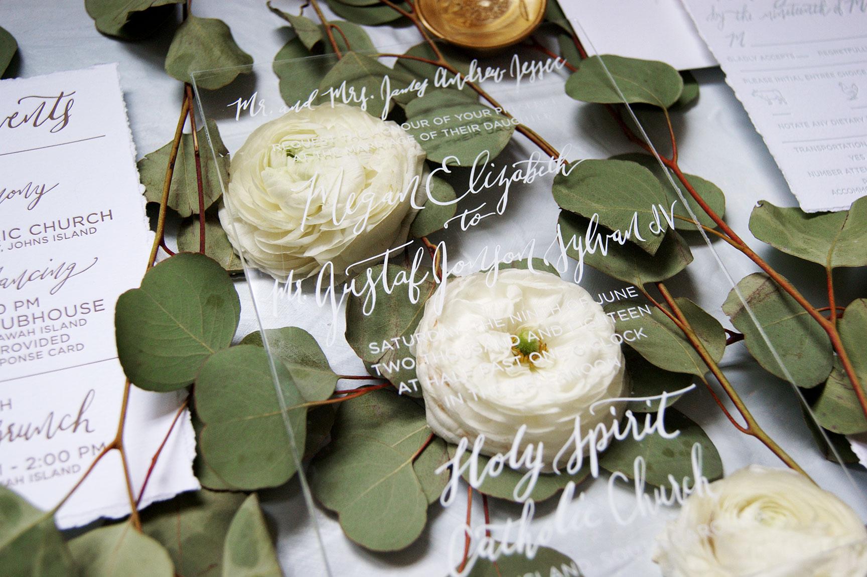 Kiawah Island Acrylic Wedding Invitation Detail