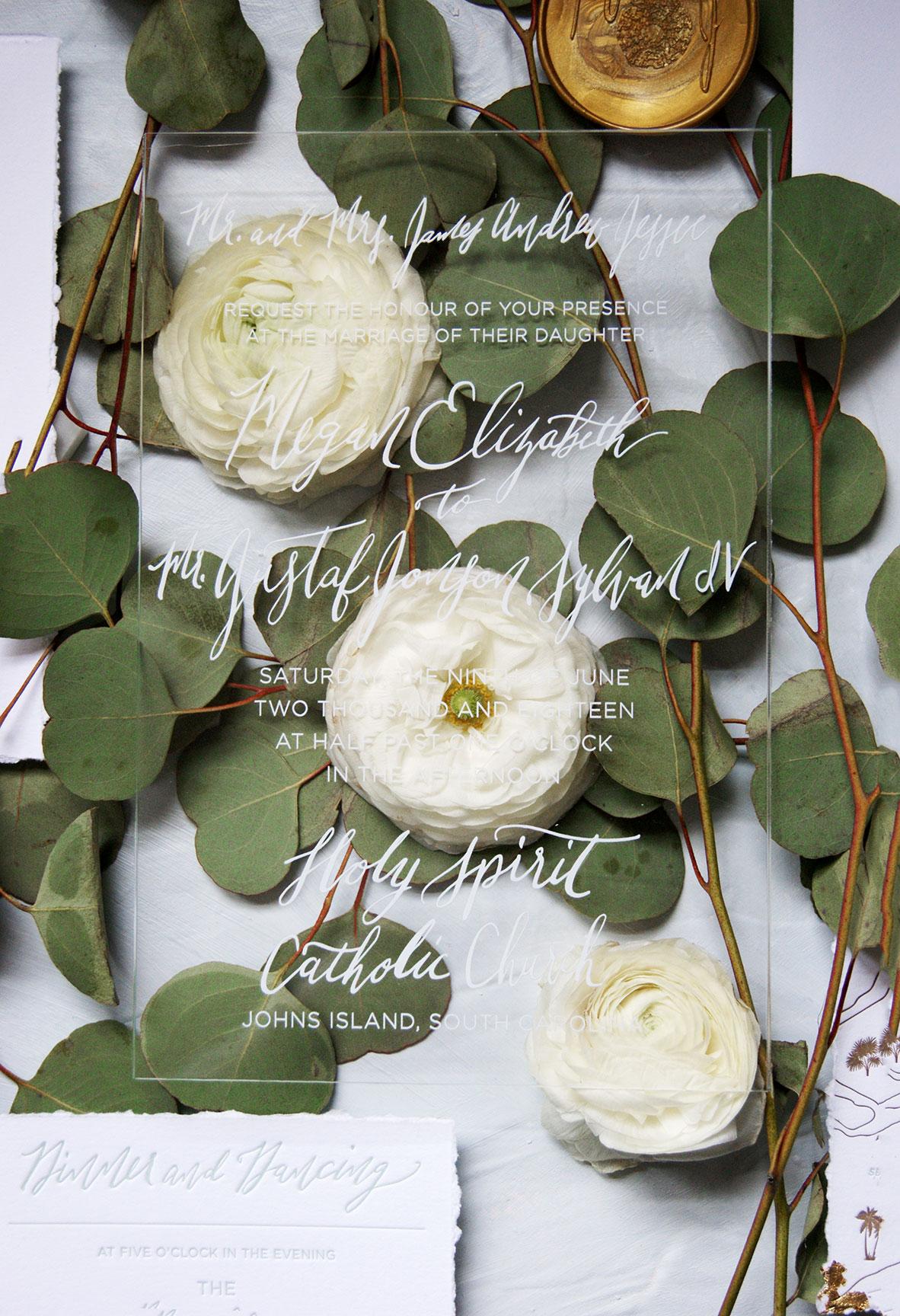 Kiawah Island Acrylic Wedding Invitation