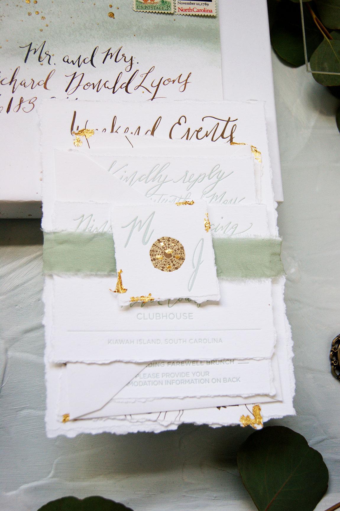 Kiawah Island Wedding Invitation Suite Detail