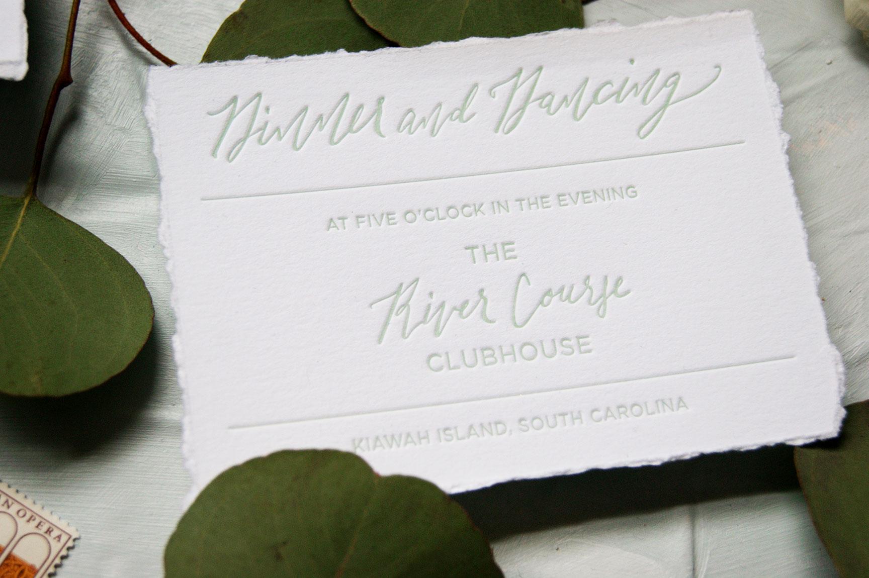 Kiawah Island Dinner and Dancing Card
