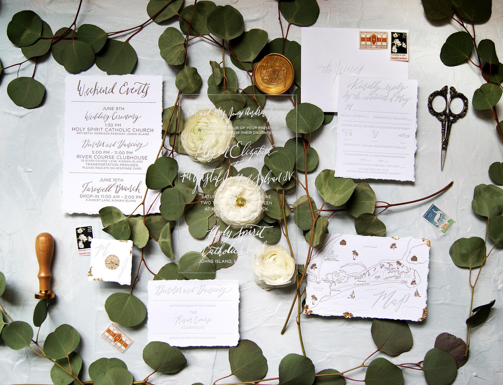 Kiawah Island Acrylic Wedding Invitation Suite