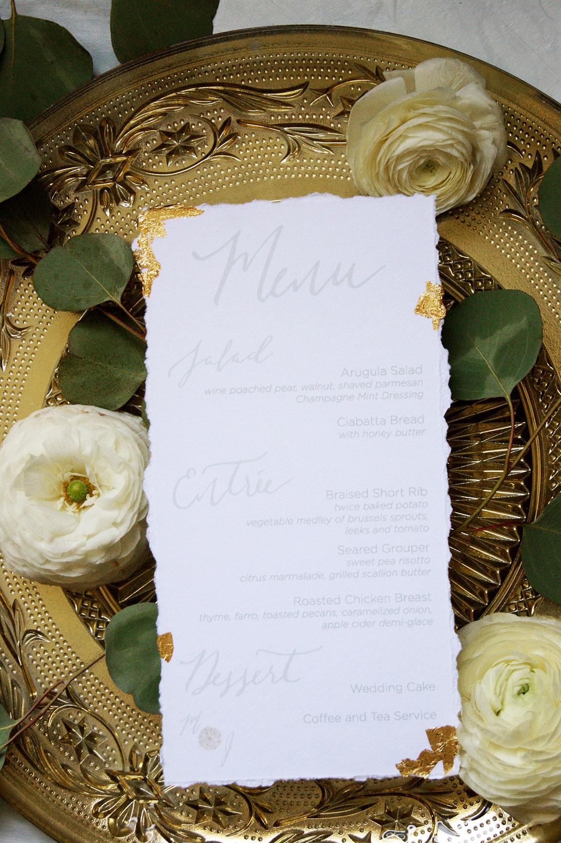 Kiawah Island Wedding Menu