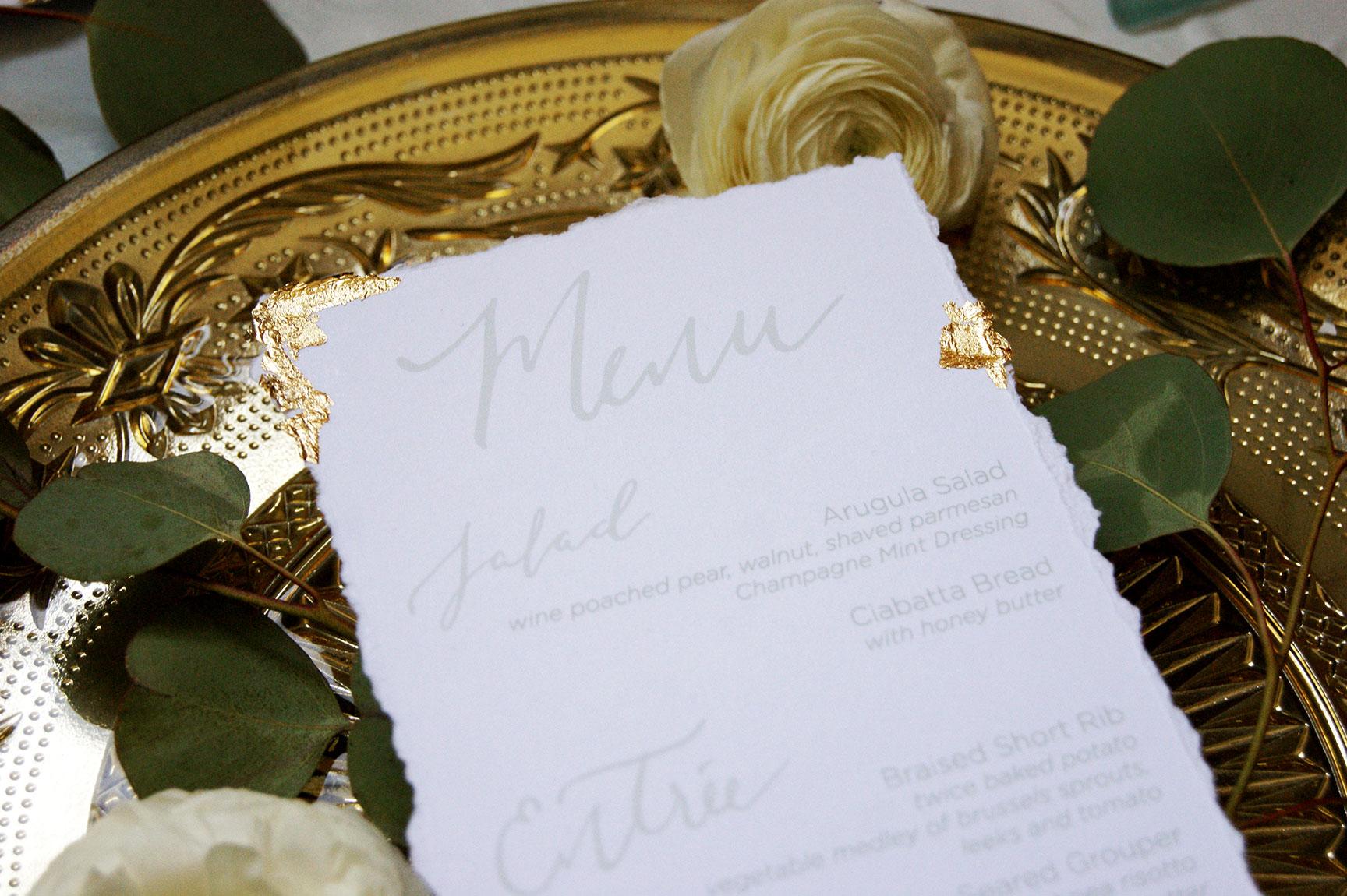 Kiawah Island Wedding Menu Detail